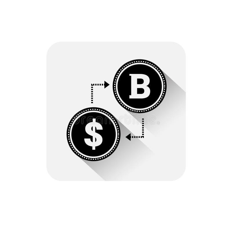 Bitcoin wymiany ikony Cyfrowego sieci pieniądze waluty loga Crypto pojęcie ilustracji