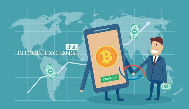 Bitcoin wymiany pojęcie z dolarowej wymiany ilustracją royalty ilustracja