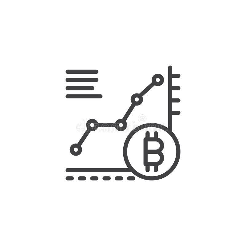 Bitcoin wzrostowej mapy konturu ikona ilustracja wektor