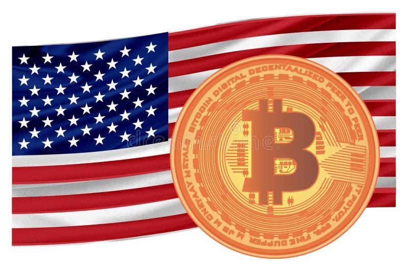Bitcoin y bandera de los E.E.U.U. libre illustration