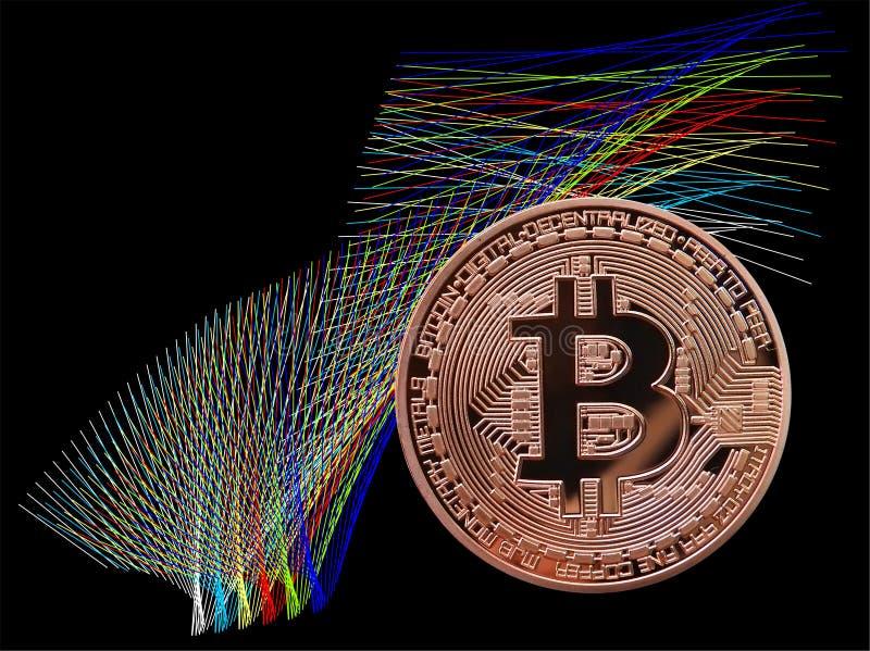 Bitcoin y color stock de ilustración