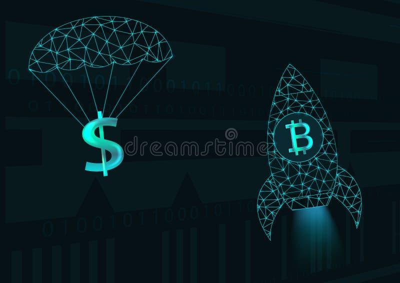 Bitcoin y dólar stock de ilustración
