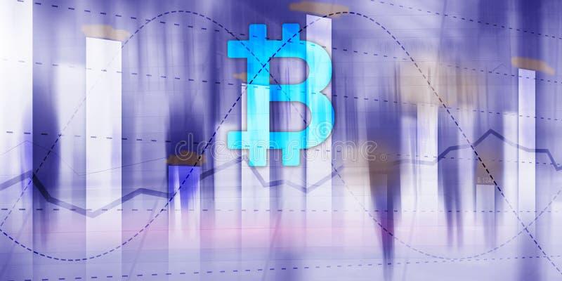 Bitcoin y diagrama Icono Crypto en fondo futurista Inversión del mercado de acción del intercambio de comercio stock de ilustración