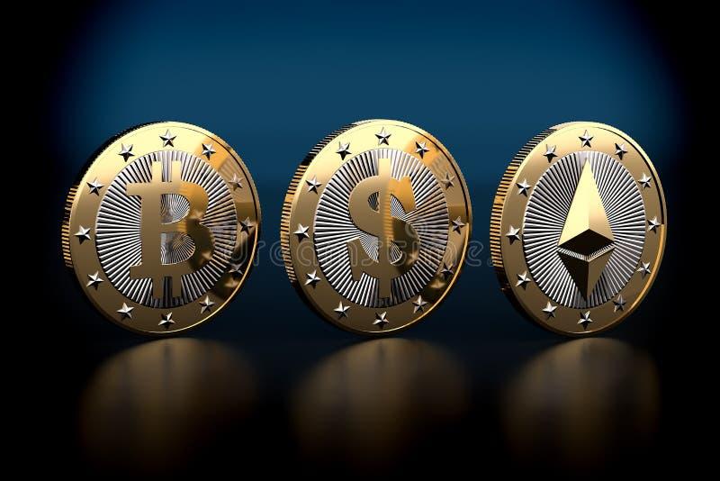 Bitcoin y Ethereum - dinero virtual foto de archivo libre de regalías