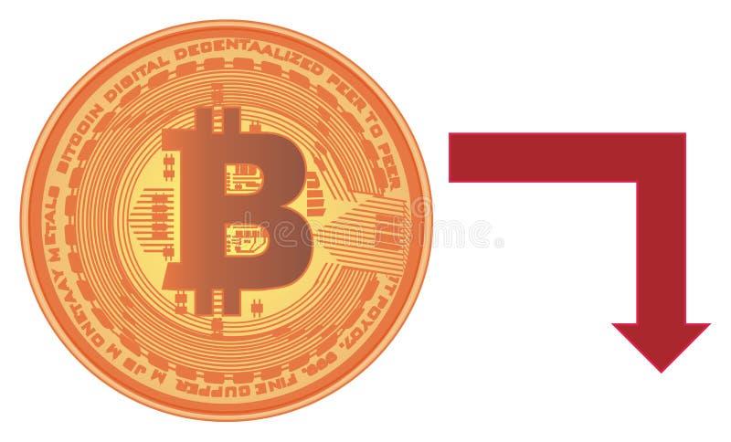 Bitcoin y flecha roja stock de ilustración