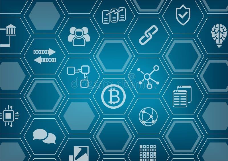 Bitcoin y fondo azul y gris del blockchain con la capa borrosa del horizonte y del polígono de la ciudad ilustración del vector