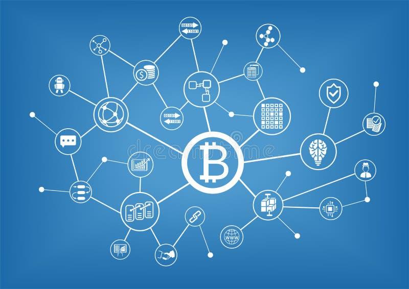 Bitcoin y fondo del ejemplo del blockchain libre illustration