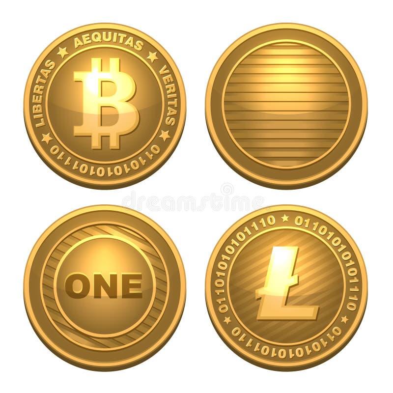 Bitcoin y Litecoin aislados en blanco ilustración del vector