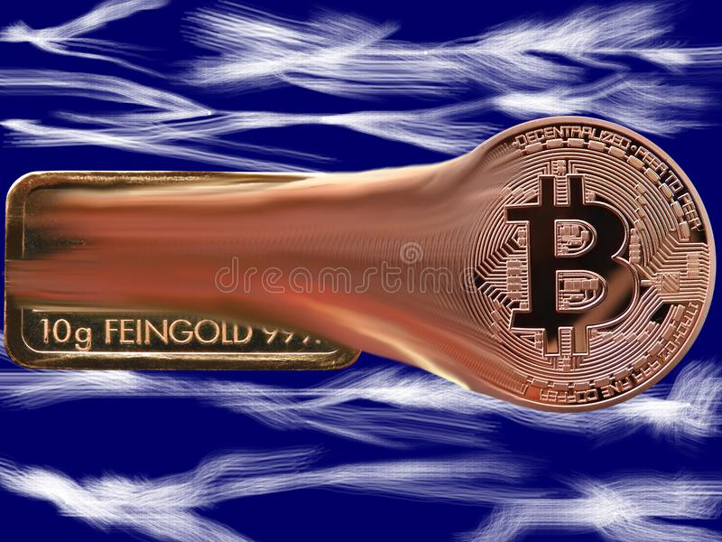 Bitcoin y lucha de la barra de oro ilustración del vector
