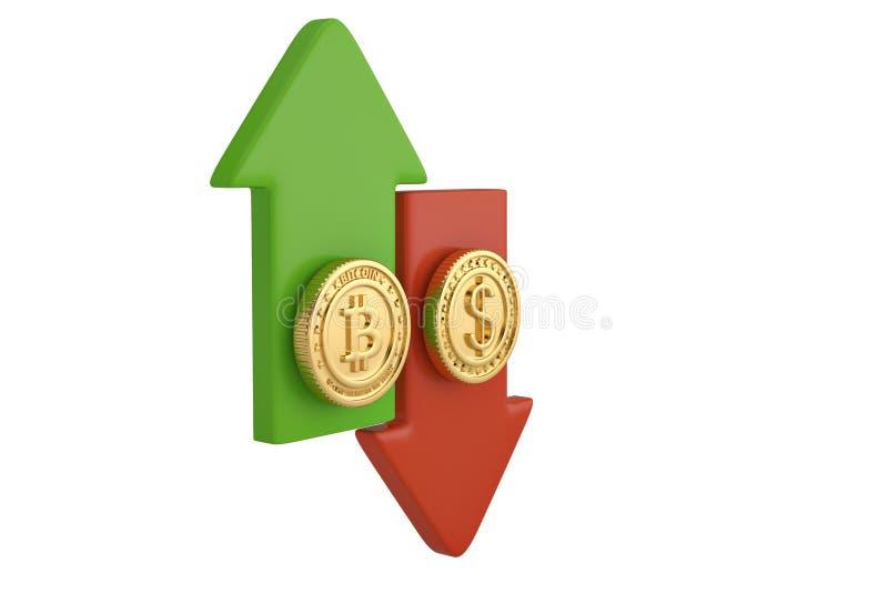 Bitcoin y moneda del dólar del oro con la flecha ilustración 3D ilustración del vector