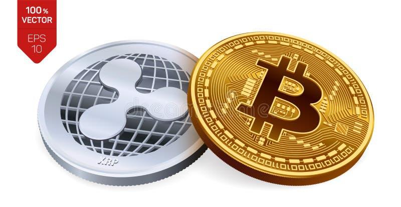 Bitcoin y ondulación monedas físicas isométricas 3D Moneda de Digitaces Cryptocurrency Moneda de plata con símbolo de la ondulaci stock de ilustración