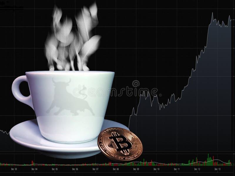 Bitcoin y taza de café imagen de archivo libre de regalías