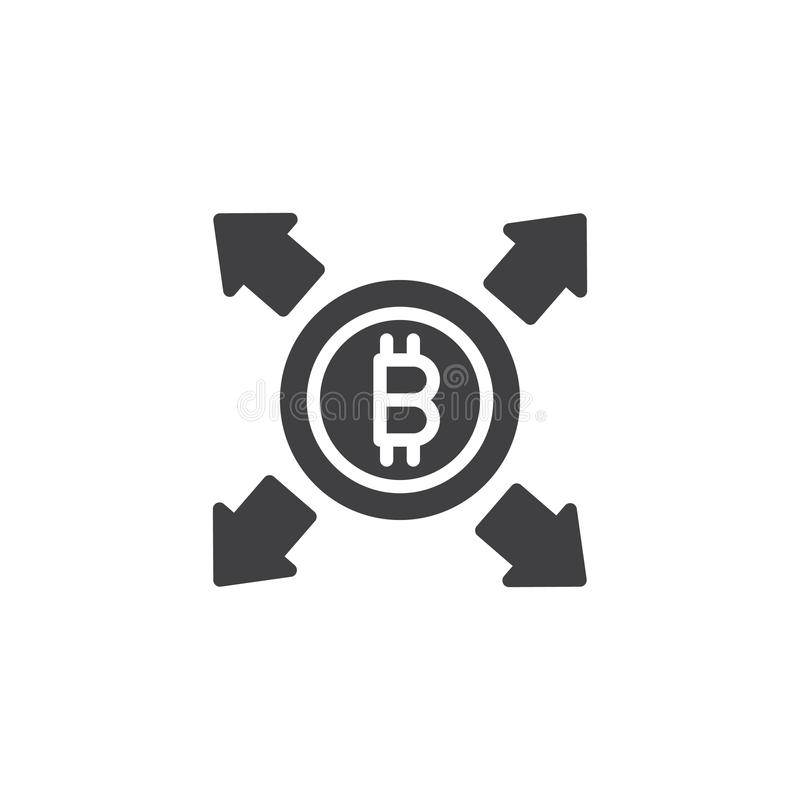 Bitcoin z wszystkie kierunek strzała wektoru ikoną ilustracji