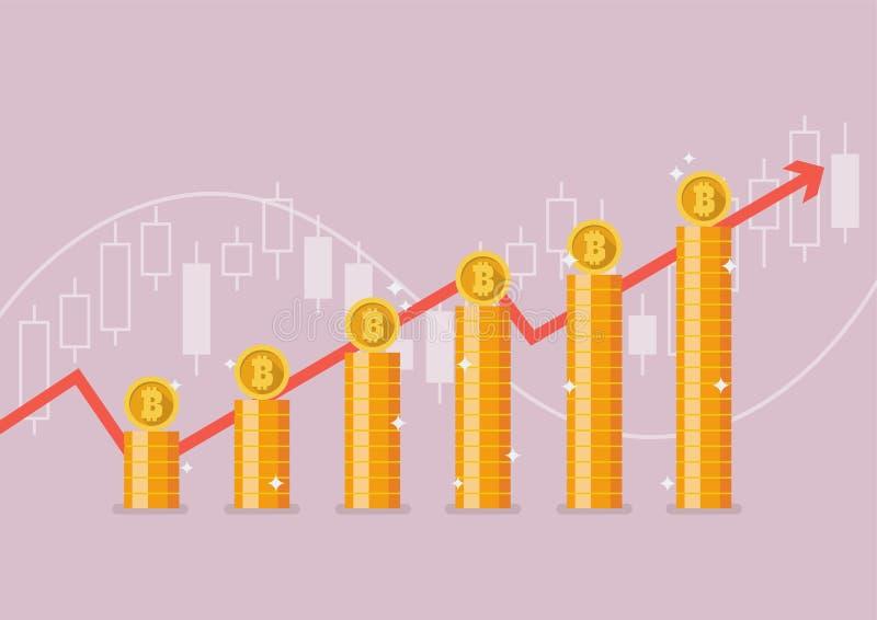Bitcoin z wzrostowym wykresem royalty ilustracja
