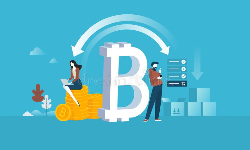 Bitcoin zakupy ilustracja wektor