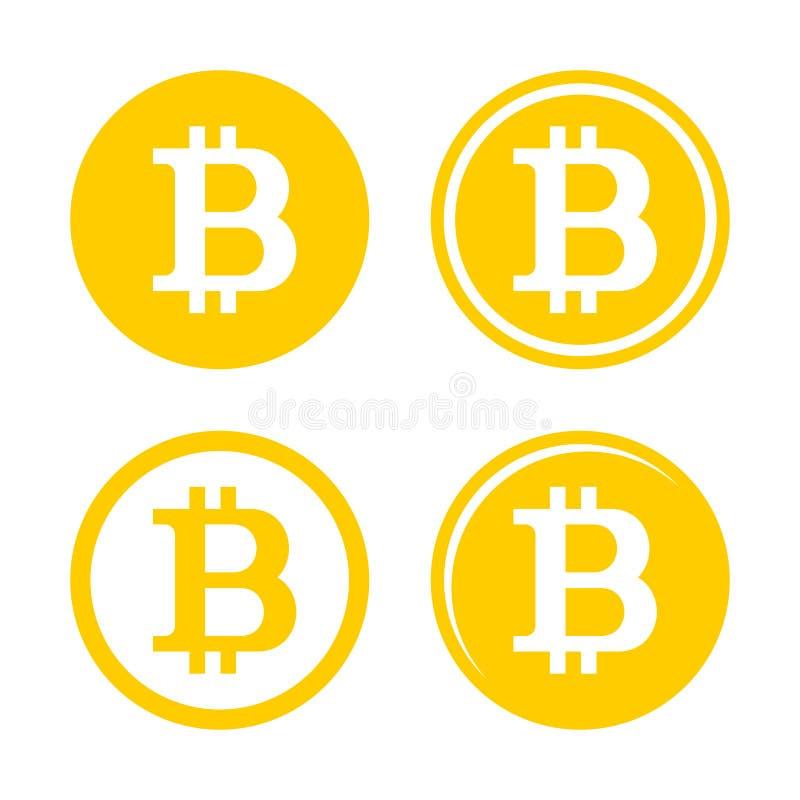 Bitcoin-Zeichen Logo Set lizenzfreie abbildung