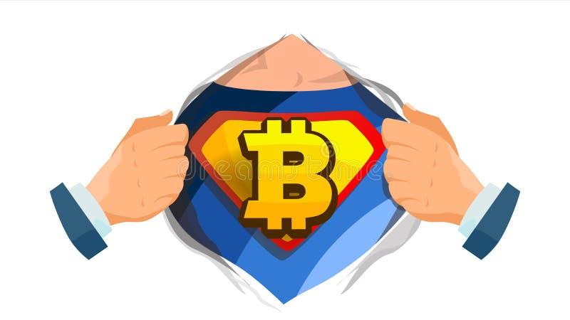 Bitcoin-Zeichenvektor Superheld-offenes Hemd mit Schild-Ausweis Bergbau, Technologie für Währung Lokalisierte flache Karikatur vektor abbildung
