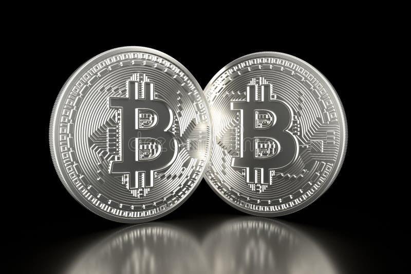 Bitcoin Zilveren die muntstukken met bitcoinsymbool op zwarte achtergrond wordt geïsoleerd Digitale munt Blokketen Cryptocurrency stock foto's