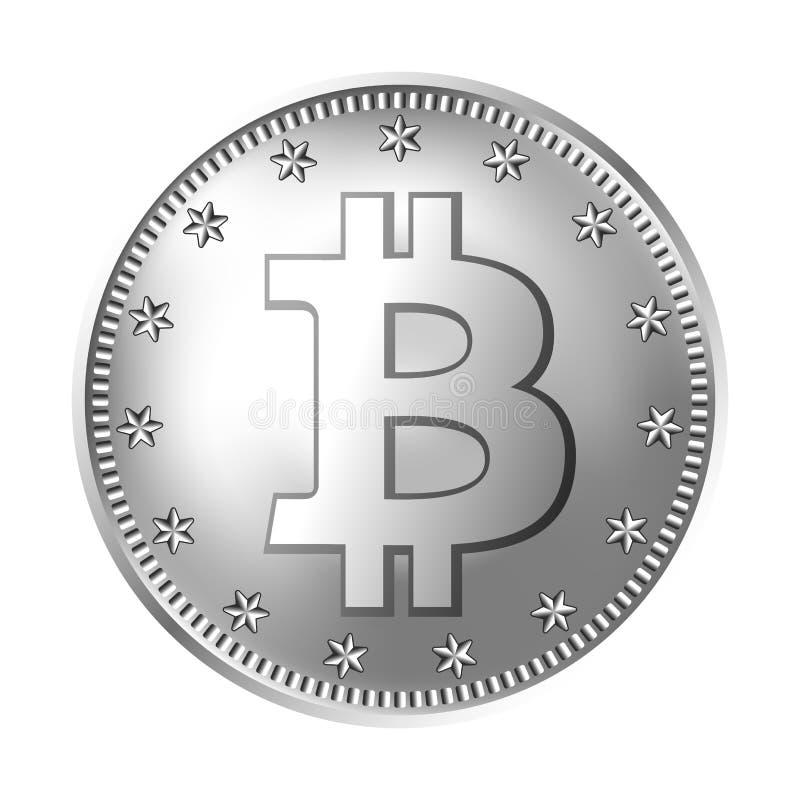 Bitcoin zilveren muntstuk stock illustratie