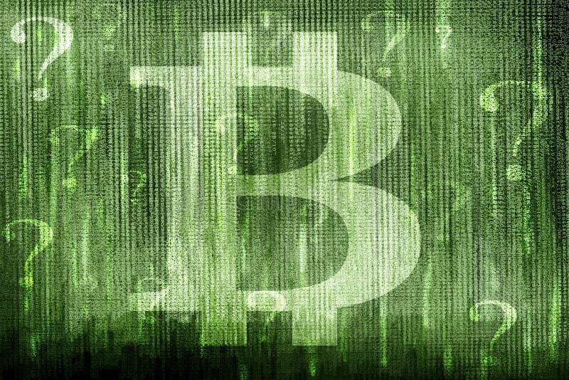 Bitcoin znaki zapytania i symbol zdjęcia stock