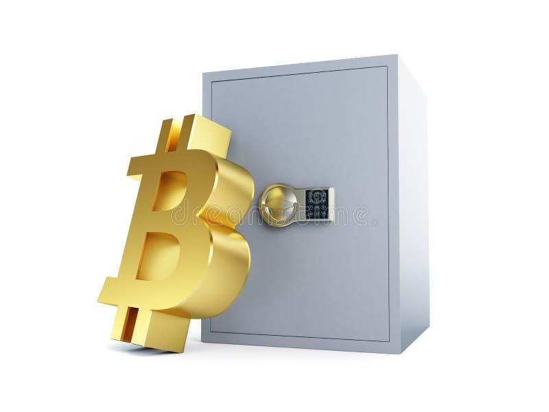 Bitcoinbrandkast op een witte 3D illustratie als achtergrond, het 3D teruggeven royalty-vrije illustratie