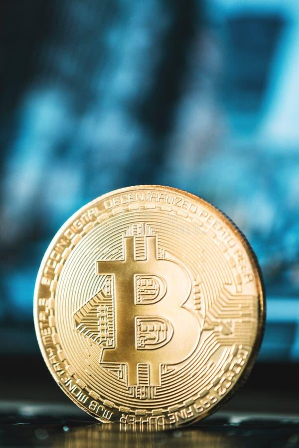 Bitcoinclose-up, bedrijfsachtergrond, bitcoin concept, cryptocurrency, blockchain royalty-vrije stock foto