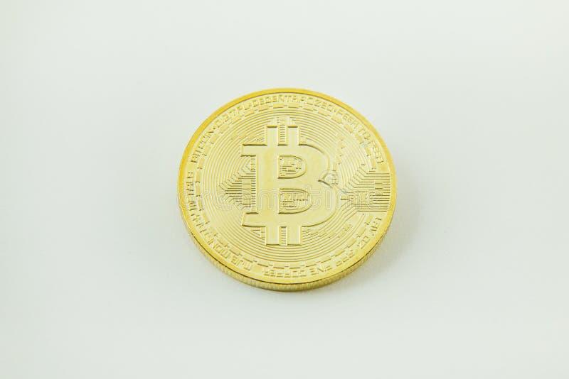 Bitcoincrypto het beeldclose-up van het munt elektronische geld royalty-vrije stock afbeelding