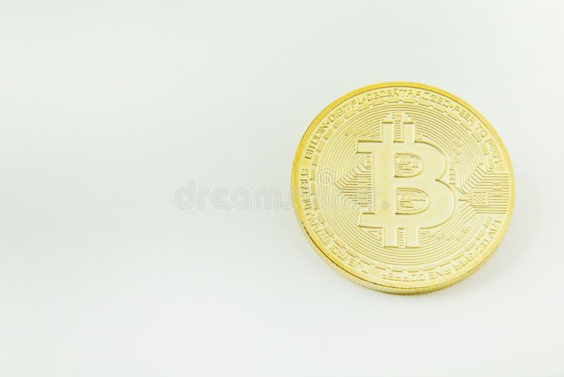 Bitcoincrypto het beeldclose-up van het munt elektronische geld stock foto