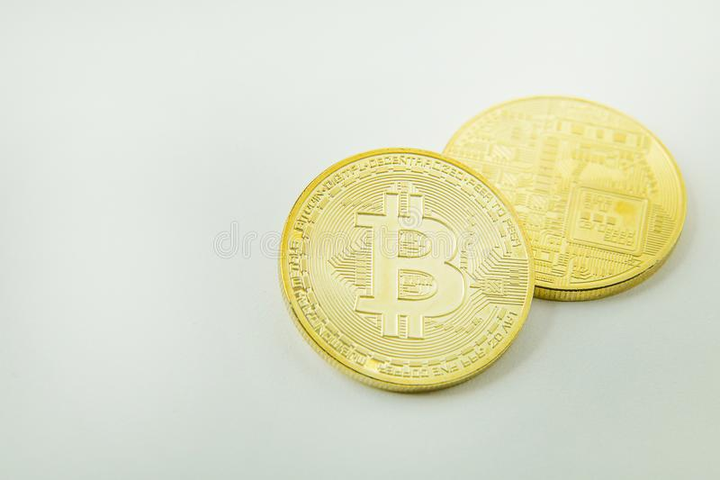 Bitcoincrypto het beeldclose-up van het munt elektronische geld stock afbeelding
