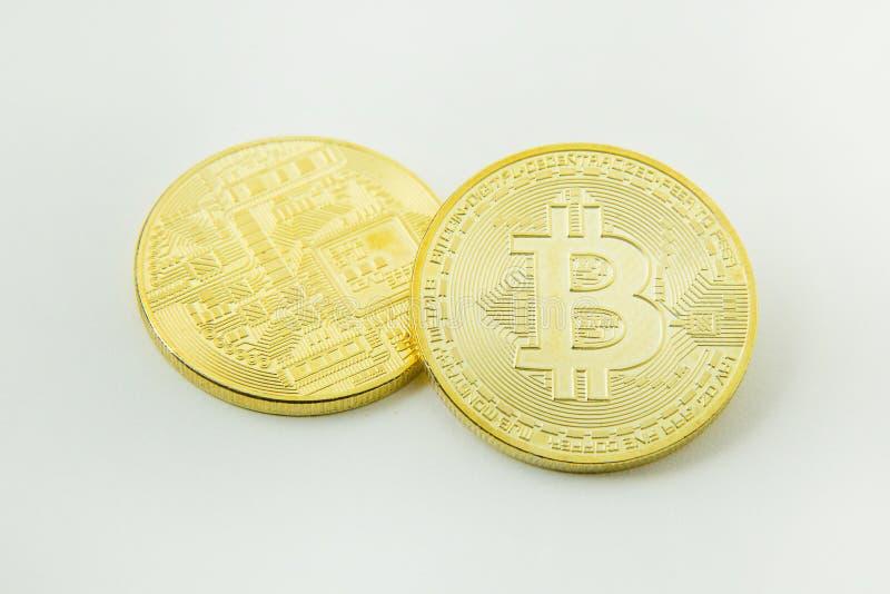Bitcoincrypto het beeldclose-up van het munt elektronische geld stock fotografie