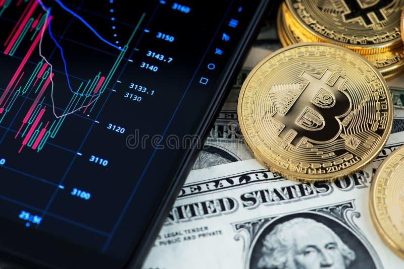 Bitcoincryptocurrency en de bankbiljetten van één Amerikaanse dollar naast mobiele telefoon die kandelaar tonen brengen in kaart royalty-vrije stock foto
