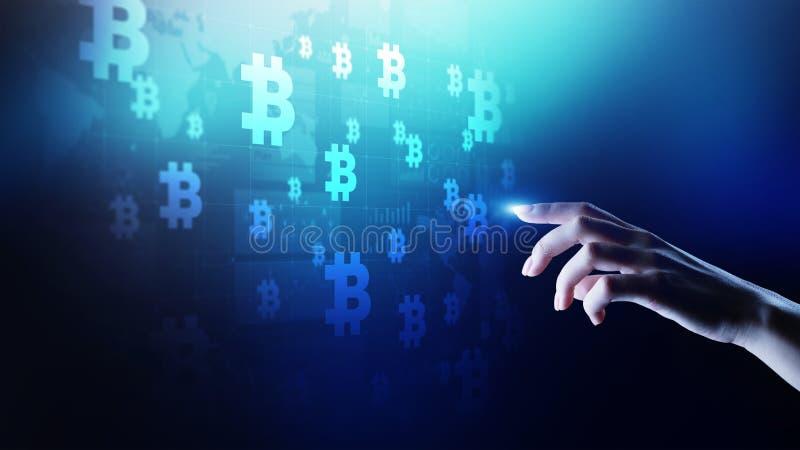 Bitcoincryptocurrency handel en investeringsconcept Financiële technologie, Fintech en digitaal geld stock afbeeldingen