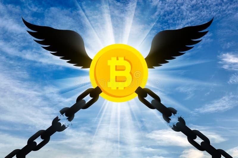 Bitcoinen med vingar flyger upp royaltyfri illustrationer