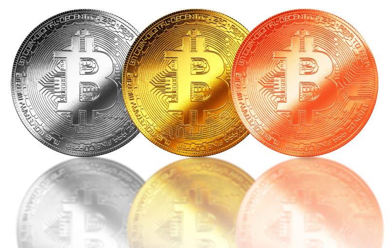Bitcoingoud, zilver, de geïsoleerde achtergrond Internet van het bronsmuntstuk cryptocurrency royalty-vrije illustratie