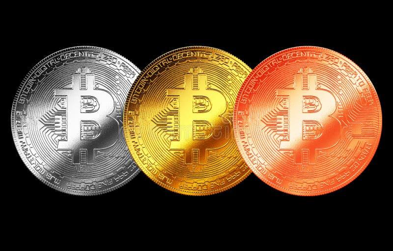 Bitcoingoud, zilver, de geïsoleerde achtergrond Internet van het bronsmuntstuk cryptocurrency stock illustratie