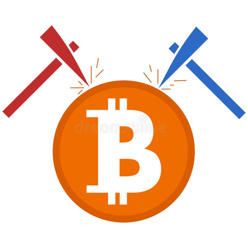 Bitcoinmijnbouw royalty-vrije illustratie