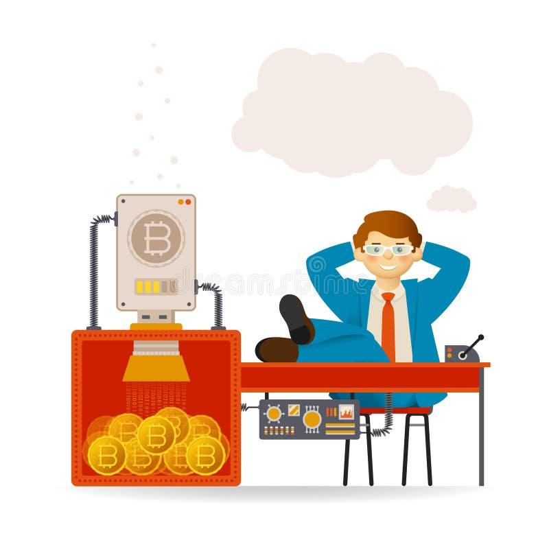 Bitcoinmijnbouw en onbezorgd zakenman vectorconcept met transportband in vlakke stijl vector illustratie