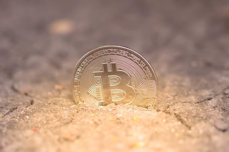 Bitcoinmijnbouw Het virtuele concept van de cryptocurrencymijnbouw witwassen van geld bitcoin royalty-vrije stock foto