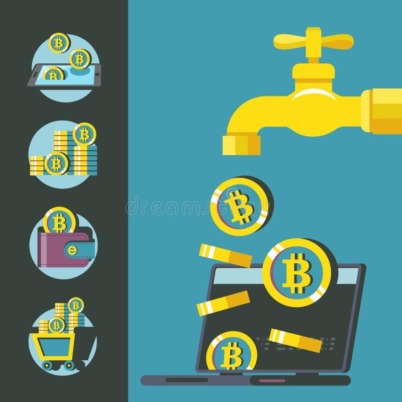 Bitcoinmijnbouw Vector illustratie Bitcointapkraan stock illustratie
