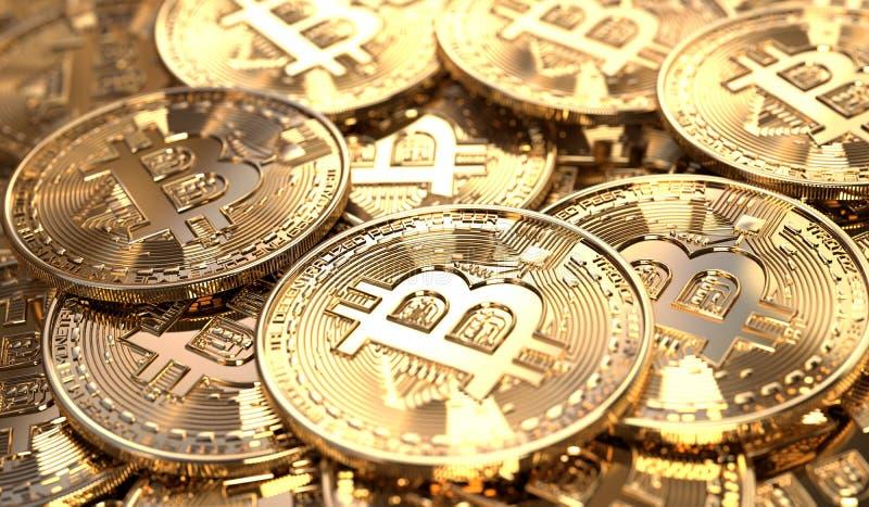 Bitcoinmuntstukken in een stapel royalty-vrije illustratie