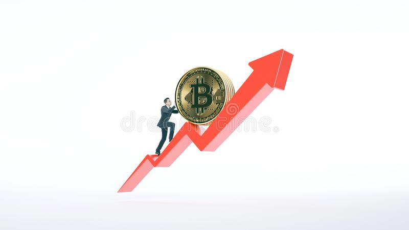 Bitcoinpijl omhoog voor het verhogen van waarde en zakenman royalty-vrije stock afbeeldingen