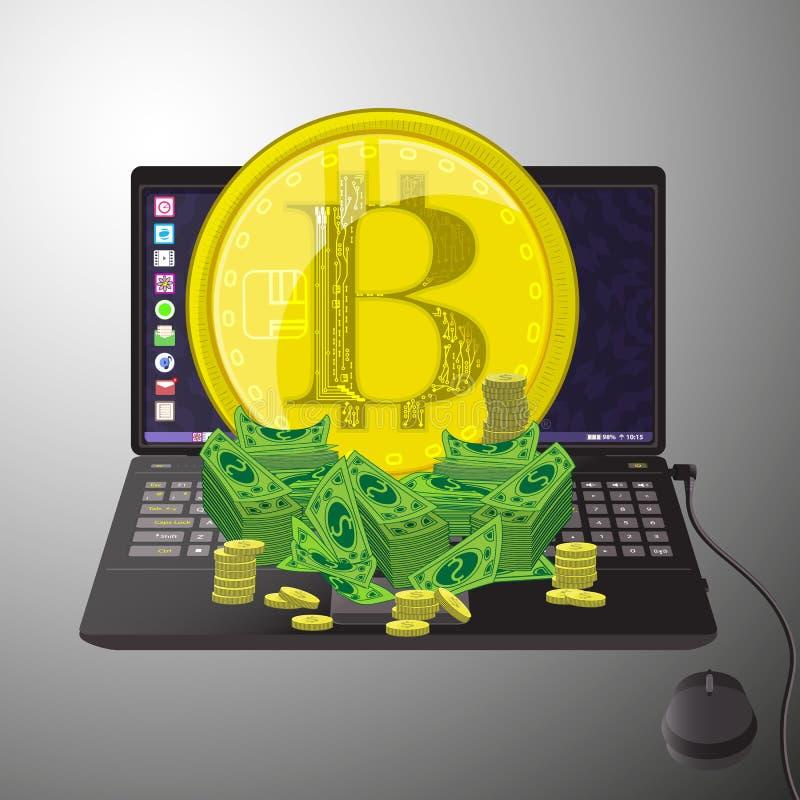 Bitcoins交换概念 膝上型计算机 皇族释放例证