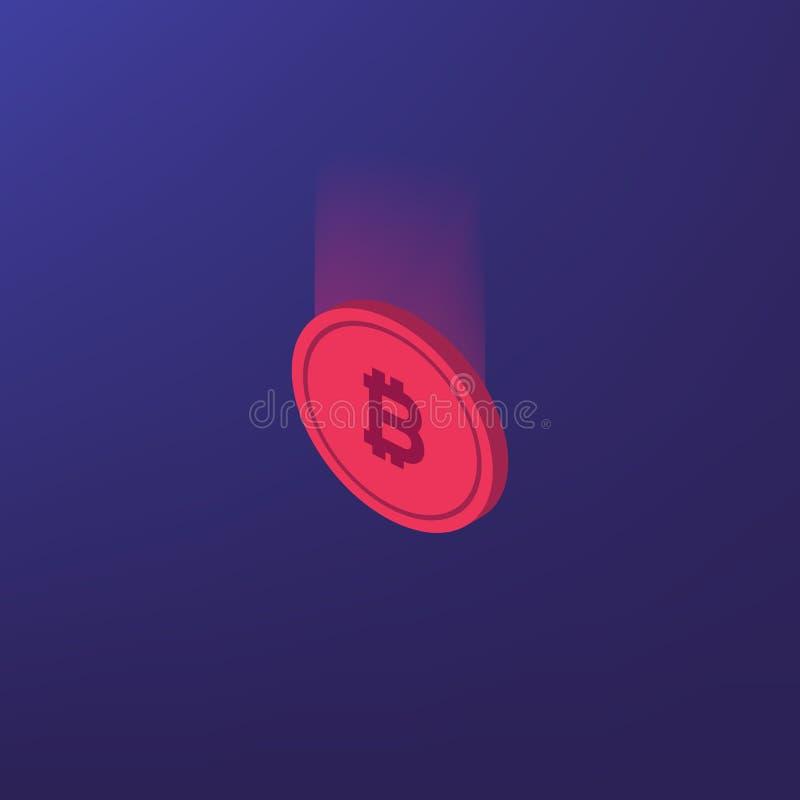 Bitcoins数字式货币技术样式背景 Cryptocurrency和blockchain Bitcoin采矿农场 创造数字式curren 库存例证