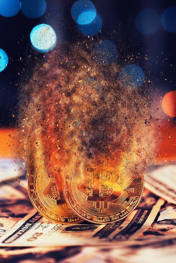 Bitcoins éclatant photos libres de droits