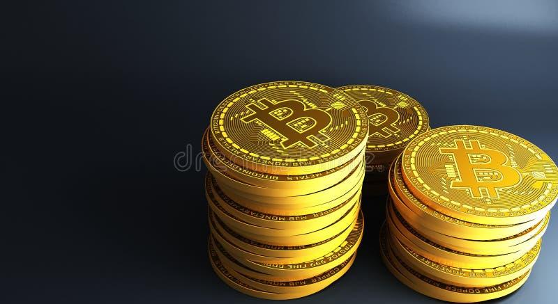 bitcoins золота кладя на отражательную поверхность, перевод 3d иллюстрация вектора