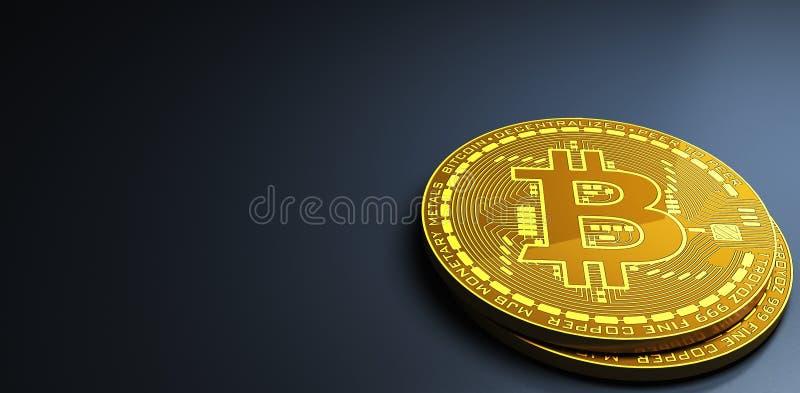Bitcoins кладя на отражательную поверхность, перевод 3d иллюстрация вектора