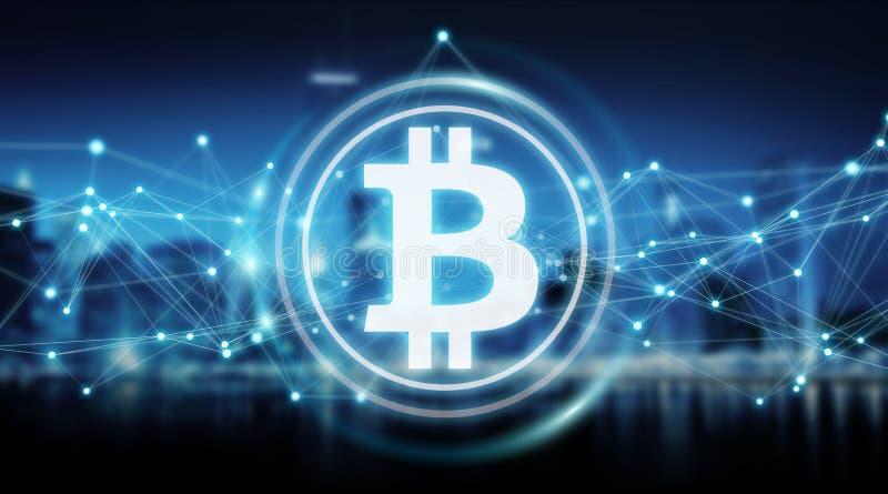 Bitcoins обменивает перевод предпосылки 3D иллюстрация штока