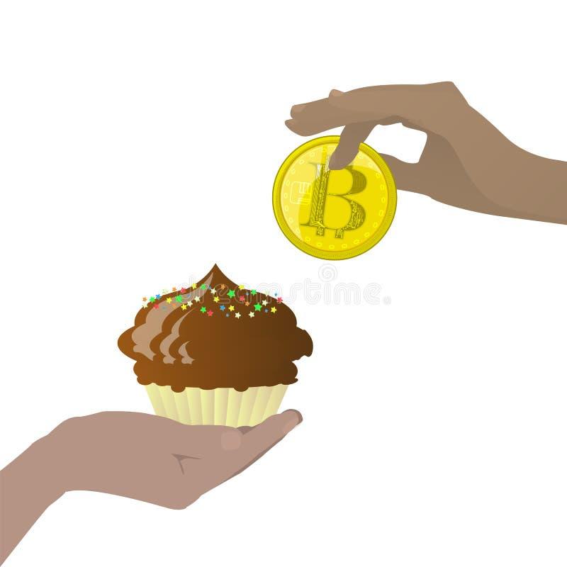 Bitcoins обмен для помадки иллюстрация вектора