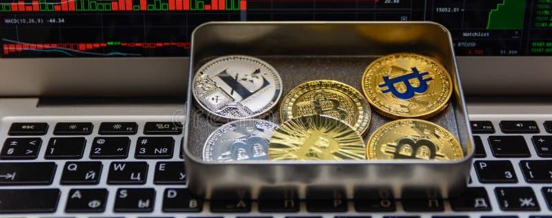 Bitcoins с серебряной ложью litecoin в коробке металла на клавиатуре тетради стоковое изображение rf
