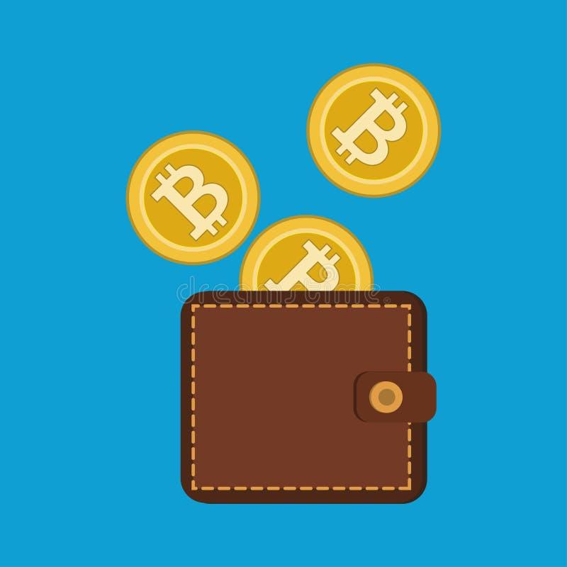 Bitcoins торгуя плоскими значками иллюстрация вектора